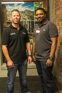 Jason Germshuys, Omnico's Cape Town GoPro rep, with This Way Out's Fit-out planner Robin Arendse.